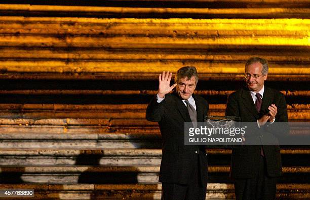 US actor and Tribeca Film Festival cofounder Robert De Niro and Major of Rome Walter Veltroni pose with the 'Steps and Stars Award' against a...