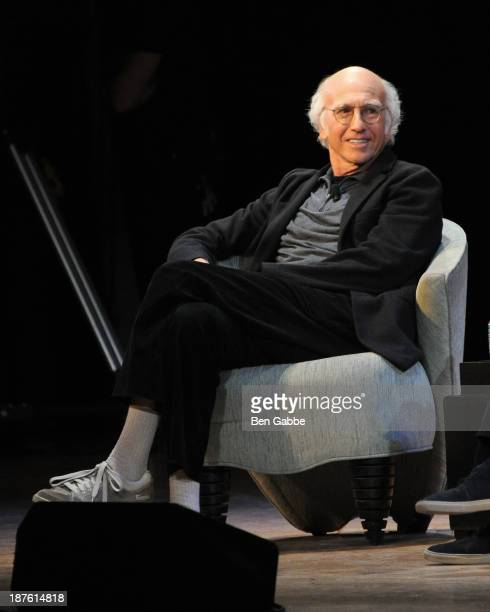 Actor and writer Larry David speaks at Larry David and David Steinberg In Conversation during the 2013 New York Comedy Film Festival at Town Hall on...