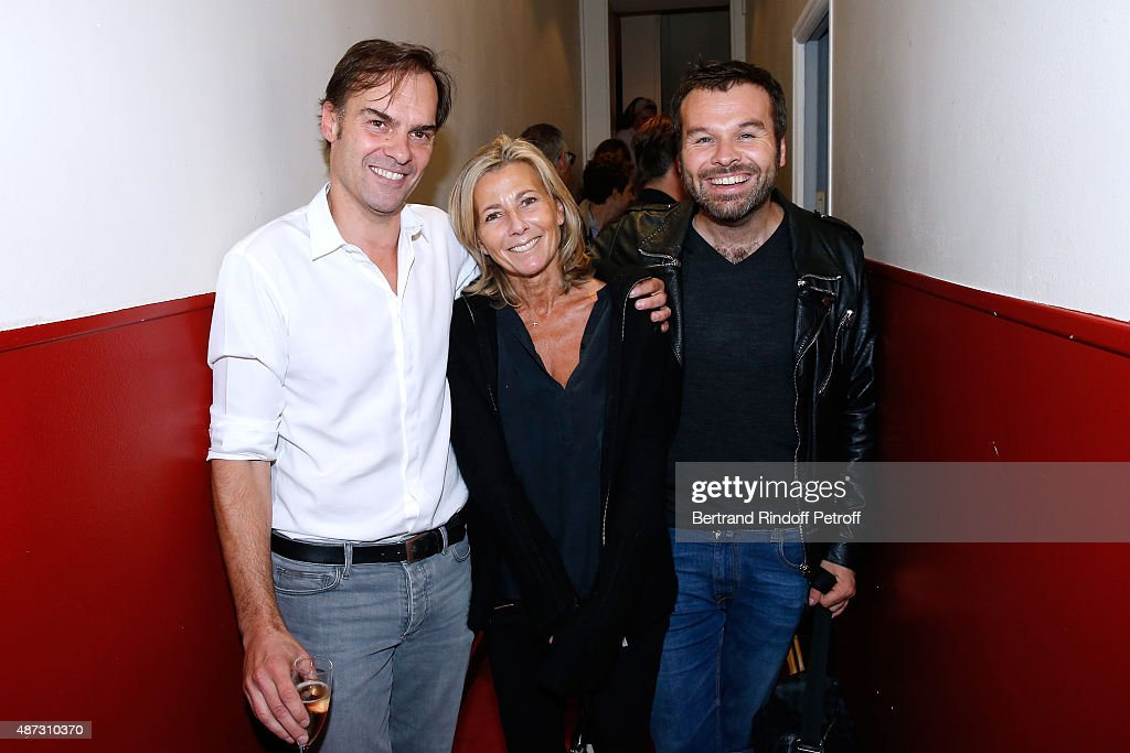 Actor and Writer of the Piece Sebastien Thiery, Journalist Claire Chazal and Stage Director of the Piece Ladislas Chollat pose Backstage after the 'Momo' Theater Play at Theatre de Paris on September 8, 2015 in Paris, France.