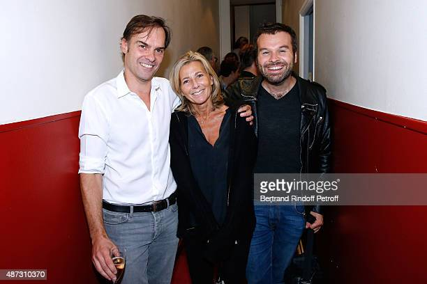 Actor and Writer of the Piece Sebastien Thiery Journalist Claire Chazal and Stage Director of the Piece Ladislas Chollat pose Backstage after the...