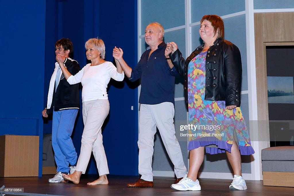 Actor and Writer Sebastien Thiery Actors Muriel Robin Francois Berleand and Ninie Lavallee acknowledge the applause of the audience at the end of...