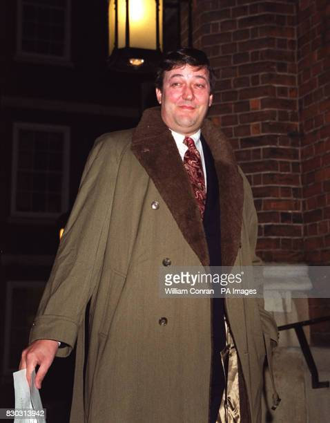 Actor and writer Stephen Fry arrives at London's historic Middle Temple Hall where Kenneth Branagh received the John Gielgud Golden Quill Award given...
