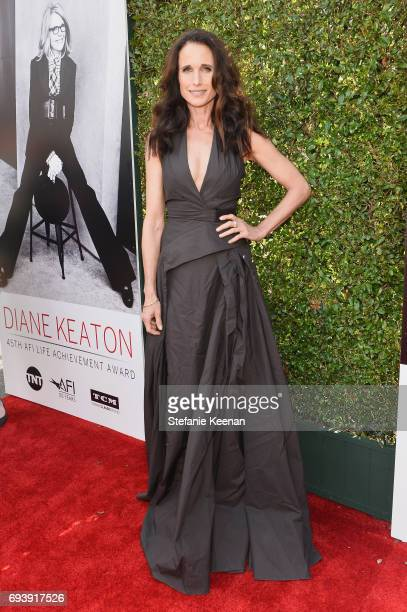Actor Andie MacDowell arrives at the American Film Institute's 45th Life Achievement Award Gala Tribute to Diane Keaton at Dolby Theatre on June 8...