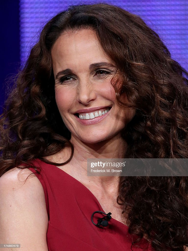 Actor Andie MacDowell speaks onstage during the Debbie Macomber's Cedar Cove panel at the Hallmark Channel and Hallmark Movie Channel portion of the 2013 Summer Television Critics Association tour at the Beverly Hilton Hotel on July 24, 2013 in Beverly Hills, California.