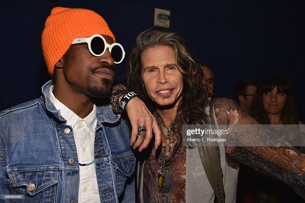 Actor Andre Benjamin and singer Steven Tyler arrive to the Los Angeles premiere of 'Jimi All Is By My Side' at ArcLight Cinemas on September 22 2014...