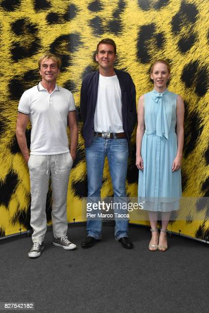 Actor Andre Hennicke Director Felix Randau and Actress Susanne Wuest pose during the 'Iceman' photocall at the 70th Locarno Film Festival on August 8...