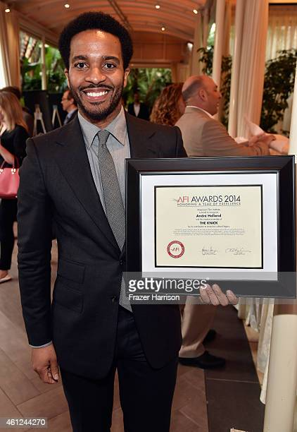 Actor Andre Holland poses with award during the 15th Annual AFI Awards at Four Seasons Hotel Los Angeles at Beverly Hills on January 9 2015 in...
