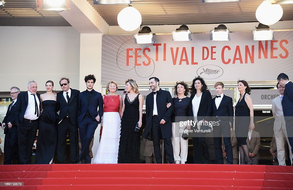 Actor Andre Wilms, <a gi-track='captionPersonalityLinkClicked' href=/galleries/search?phrase=Celine+Sallette&family=editorial&specificpeople=6484842 ng-click='$event.stopPropagation()'>Celine Sallette</a>, <a gi-track='captionPersonalityLinkClicked' href=/galleries/search?phrase=Xavier+Beauvois&family=editorial&specificpeople=4480731 ng-click='$event.stopPropagation()'>Xavier Beauvois</a>, <a gi-track='captionPersonalityLinkClicked' href=/galleries/search?phrase=Louis+Garrel&family=editorial&specificpeople=868484 ng-click='$event.stopPropagation()'>Louis Garrel</a>, Marisa Borin, director Valeria Bruni Tedeschi, actor <a gi-track='captionPersonalityLinkClicked' href=/galleries/search?phrase=Filippo+Timi&family=editorial&specificpeople=4146821 ng-click='$event.stopPropagation()'>Filippo Timi</a> and guests attend the Premiere of 'Un Chateau En Italie' during the 66th Annual Cannes Film Festival at the Palais des Festivals on May 20, 2013 in Cannes, France.