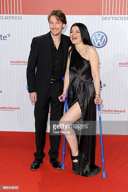 Actor Andreas Pietschmann and actress Jasmin Tabatabai attend the 'German film award 2010' at Friedrichstadtpalast on April 23 2010 in Berlin Germany
