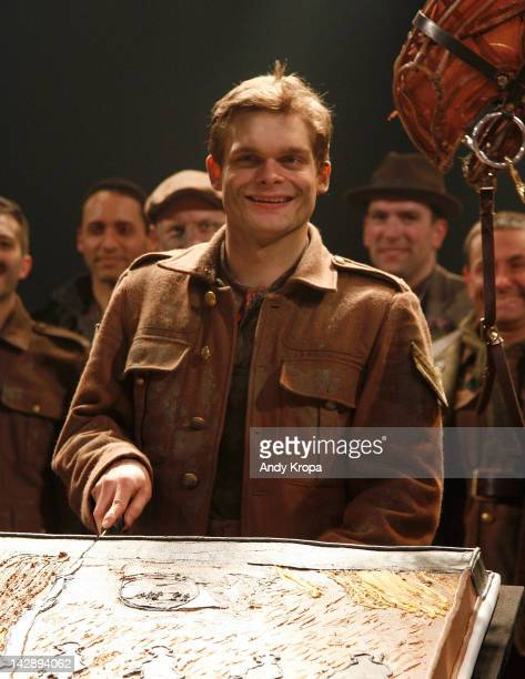 Actor Andrew Durand attends the 'War Horse' First Year Anniversary Cake Cutting Ceremony at Vivian Beaumont Theatre at Lincoln Center on April 14...