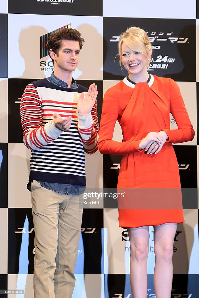 Actor Andrew Gafield and actress <a gi-track='captionPersonalityLinkClicked' href=/galleries/search?phrase=Emma+Stone&family=editorial&specificpeople=672023 ng-click='$event.stopPropagation()'>Emma Stone</a> attends 'The Amazing Spider-Man' press conference at Roppongi on June 13, 2012 in Tokyo, Japan. The film will open on June 30, 2012 in Japan.