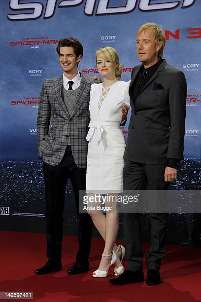 Actor Andrew Garfield actress Emma Stone and actor Rhys Ifans attend the 'The Amazing SpiderMan' Germany Premiere at Sony Centre on June 20 2012 in...
