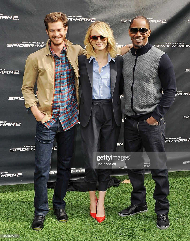 Actor <a gi-track='captionPersonalityLinkClicked' href=/galleries/search?phrase=Andrew+Garfield&family=editorial&specificpeople=4047840 ng-click='$event.stopPropagation()'>Andrew Garfield</a>, actress <a gi-track='captionPersonalityLinkClicked' href=/galleries/search?phrase=Emma+Stone&family=editorial&specificpeople=672023 ng-click='$event.stopPropagation()'>Emma Stone</a> and <a gi-track='captionPersonalityLinkClicked' href=/galleries/search?phrase=Jamie+Foxx&family=editorial&specificpeople=201715 ng-click='$event.stopPropagation()'>Jamie Foxx</a> pose at 'The Amazing Spiderman 2' - Los Angeles Photo Call at Sony Pictures Studios on November 16, 2013 in Culver City, California.