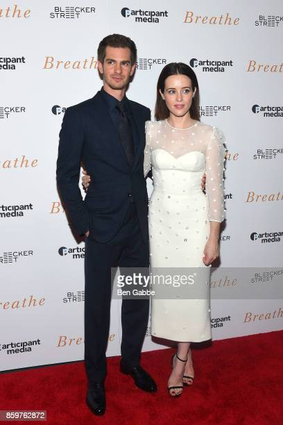 Actor Andrew Garfield and actress Claire Foy attend the 'Breathe' New York Special Screening at AMC Loews Lincoln Square 13 theater on October 9 2017...