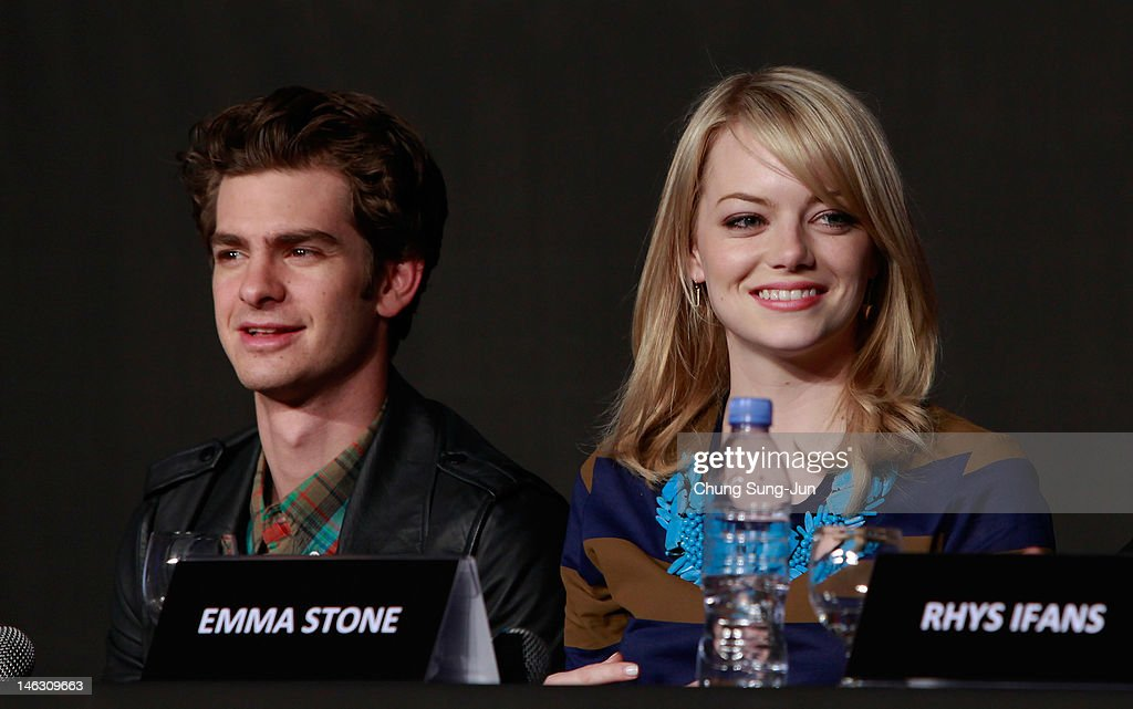 Actor <a gi-track='captionPersonalityLinkClicked' href=/galleries/search?phrase=Andrew+Garfield&family=editorial&specificpeople=4047840 ng-click='$event.stopPropagation()'>Andrew Garfield</a> and actress <a gi-track='captionPersonalityLinkClicked' href=/galleries/search?phrase=Emma+Stone&family=editorial&specificpeople=672023 ng-click='$event.stopPropagation()'>Emma Stone</a> attend the 'The Amazing Spider-Man' Press Conference on June 14, 2012 in Seoul, South Korea. The film will open on June 28 in South Korea.