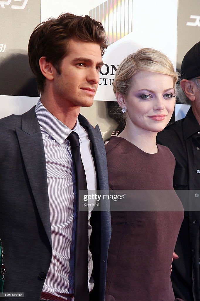 Actor <a gi-track='captionPersonalityLinkClicked' href=/galleries/search?phrase=Andrew+Garfield&family=editorial&specificpeople=4047840 ng-click='$event.stopPropagation()'>Andrew Garfield</a> and actress <a gi-track='captionPersonalityLinkClicked' href=/galleries/search?phrase=Emma+Stone&family=editorial&specificpeople=672023 ng-click='$event.stopPropagation()'>Emma Stone</a> attend the world Premiere of 'The Amazing Spider-Man' at Roppongi Hills on June 13, 2012 in Tokyo, Japan. The film will open on June 30 in Japan.
