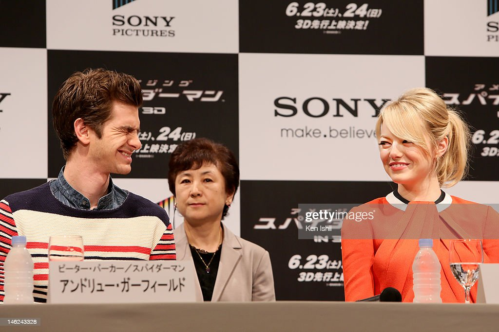 Actor <a gi-track='captionPersonalityLinkClicked' href=/galleries/search?phrase=Andrew+Garfield&family=editorial&specificpeople=4047840 ng-click='$event.stopPropagation()'>Andrew Garfield</a> and actress <a gi-track='captionPersonalityLinkClicked' href=/galleries/search?phrase=Emma+Stone&family=editorial&specificpeople=672023 ng-click='$event.stopPropagation()'>Emma Stone</a> attends 'The Amazing Spider-Man' press conference at Roppongi on June 13, 2012 in Tokyo, Japan. The film will open on June 30, 2012 in Japan.