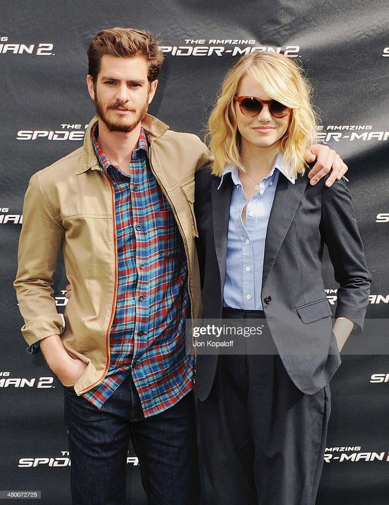 Actor <a gi-track='captionPersonalityLinkClicked' href=/galleries/search?phrase=Andrew+Garfield&family=editorial&specificpeople=4047840 ng-click='$event.stopPropagation()'>Andrew Garfield</a> and actress <a gi-track='captionPersonalityLinkClicked' href=/galleries/search?phrase=Emma+Stone&family=editorial&specificpeople=672023 ng-click='$event.stopPropagation()'>Emma Stone</a> pose at 'The Amazing Spiderman 2' - Los Angeles Photo Call at Sony Pictures Studios on November 16, 2013 in Culver City, California.