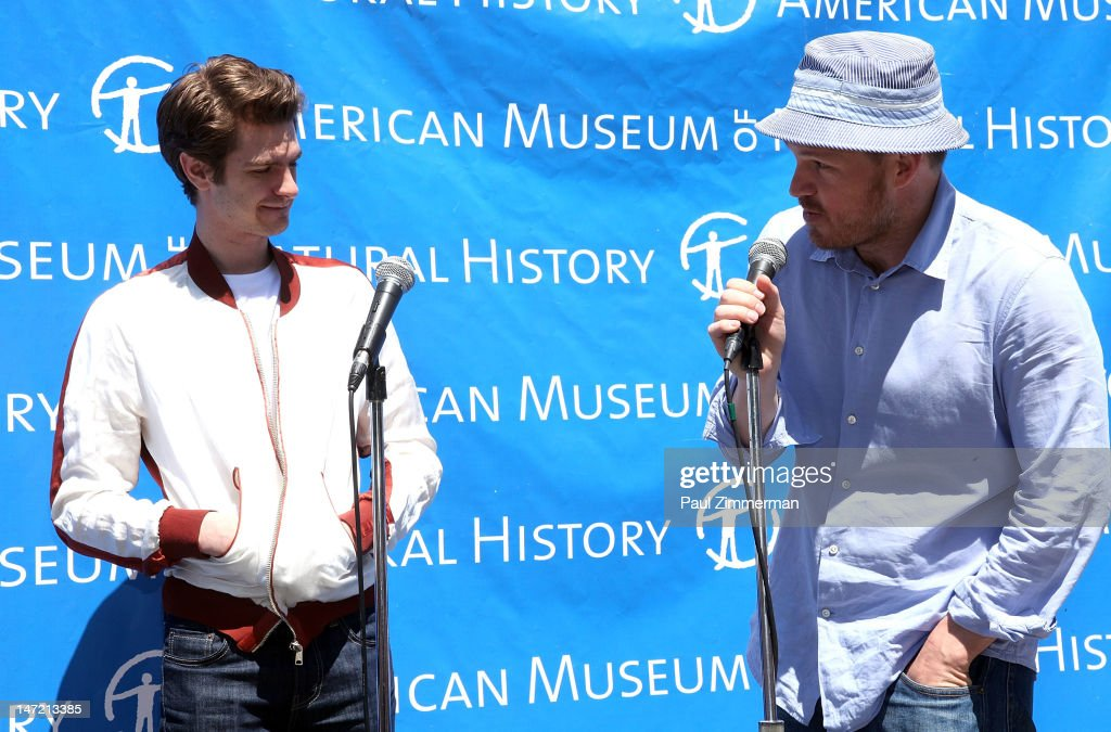 Actor Andrew Garfield and director Marc Webb speak about a Chilean Rose Tarantula that was delivered to the American Museum of Natural History on June 27, 2012 in New York City.