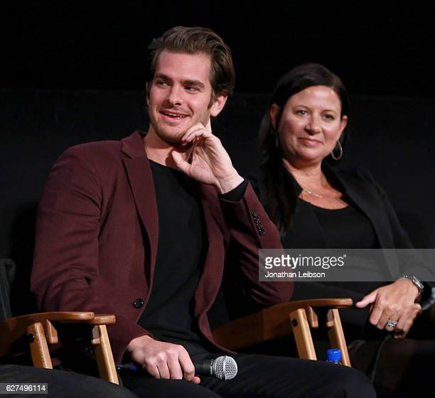 Actor Andrew Garfield and producer Emma Koskoff at the American Cinematheque conversation with Director Martin Scorsese and Producer Irwin Winkler at...