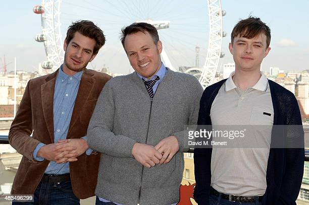 Actor Andrew Garfield director Marc Webb and actor Dane DeHaan attend 'The Amazing SpiderMan 2' photocall at Park Plaza Westminster Bridge Hotel on...