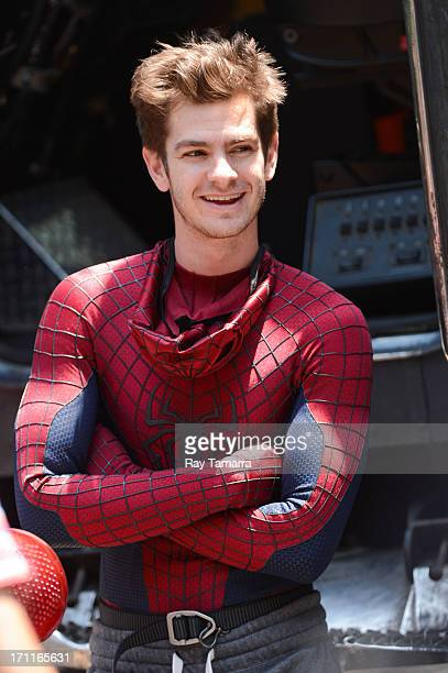 Actor Andrew Garfield enters the 'The Amazing Spiderman 2' movie set in Madison Square Park on June 22 2013 in New York City