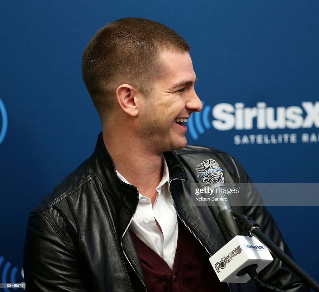 Actor Andrew Garfield of the cast of 'The Amazing SpiderMan 2' answers questions from fans during a SiriusXM 'Town Hall' special with host Jamie Foxx...