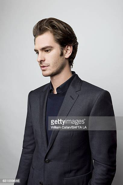 Actor Andrew Garfield poses for a portraits at the BAFTA Tea Party at Four Seasons Hotel Los Angeles at Beverly Hills on January 7 2017 in Los...