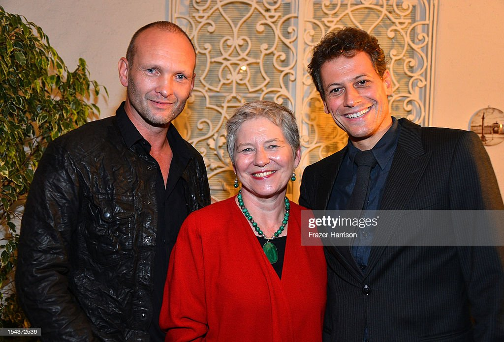 Actor Andrew Howard, British Consul-General Dame Barbara Hay and actor <a gi-track='captionPersonalityLinkClicked' href=/galleries/search?phrase=Ioan+Gruffudd&family=editorial&specificpeople=212745 ng-click='$event.stopPropagation()'>Ioan Gruffudd</a> attend Wales Celebrates the launch of 'The Richard Burton Diaries' hosted by The Welsh Government, Swansea University and Yale University Press held at the British Consul-General residence, Hancock Park on October 18, 2012 in Los Angeles, California.