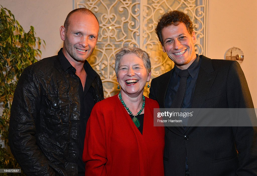 Actor Andrew Howard, British Consul-General Dame Barbara Hay and actor Ioan Gruffudd attend Wales Celebrates the launch of 'The Richard Burton Diaries' hosted by The Welsh Government, Swansea University and Yale University Press held at the British Consul-General residence, Hancock Park on October 18, 2012 in Los Angeles, California.
