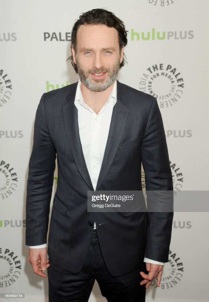 Actor <a gi-track='captionPersonalityLinkClicked' href=/galleries/search?phrase=Andrew+Lincoln&family=editorial&specificpeople=216410 ng-click='$event.stopPropagation()'>Andrew Lincoln</a> arrives at the 30th Annual PaleyFest: The William S. Paley Television Festival featuring 'The Walking Dead' at Saban Theatre on March 1, 2013 in Beverly Hills, California.