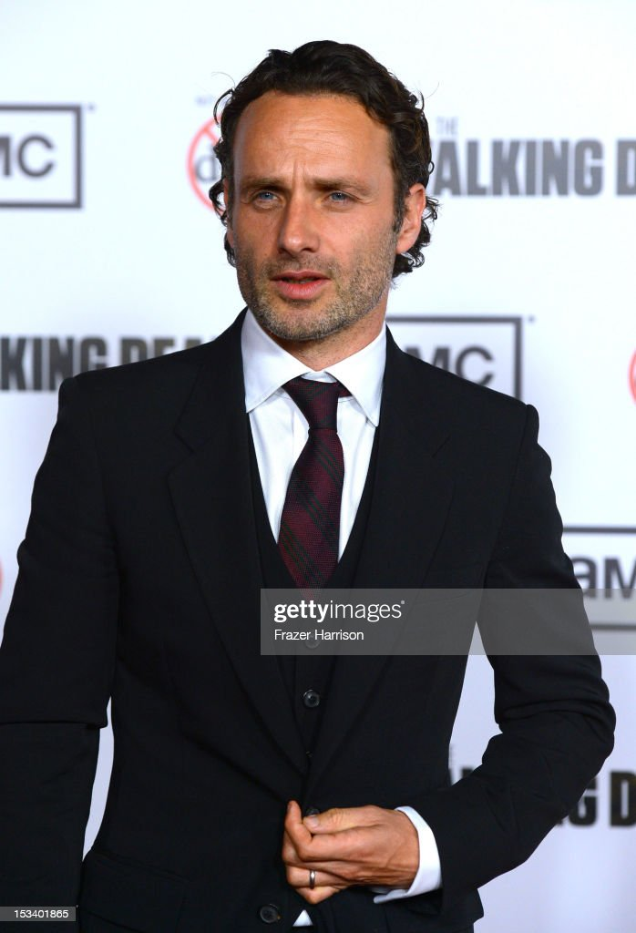 Actor <a gi-track='captionPersonalityLinkClicked' href=/galleries/search?phrase=Andrew+Lincoln&family=editorial&specificpeople=216410 ng-click='$event.stopPropagation()'>Andrew Lincoln</a> arrives at the premiere of AMC's 'The Walking Dead' 3rd Season at Universal CityWalk on October 4, 2012 in Universal City, California.