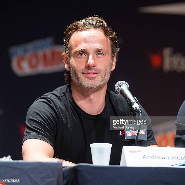 Actor Andrew Lincoln attends AMC's 'The Walking Dead' panel at 2014 New York Comic Con Day 3 at Jacob Javitz Center on October 11 2014 in New York...
