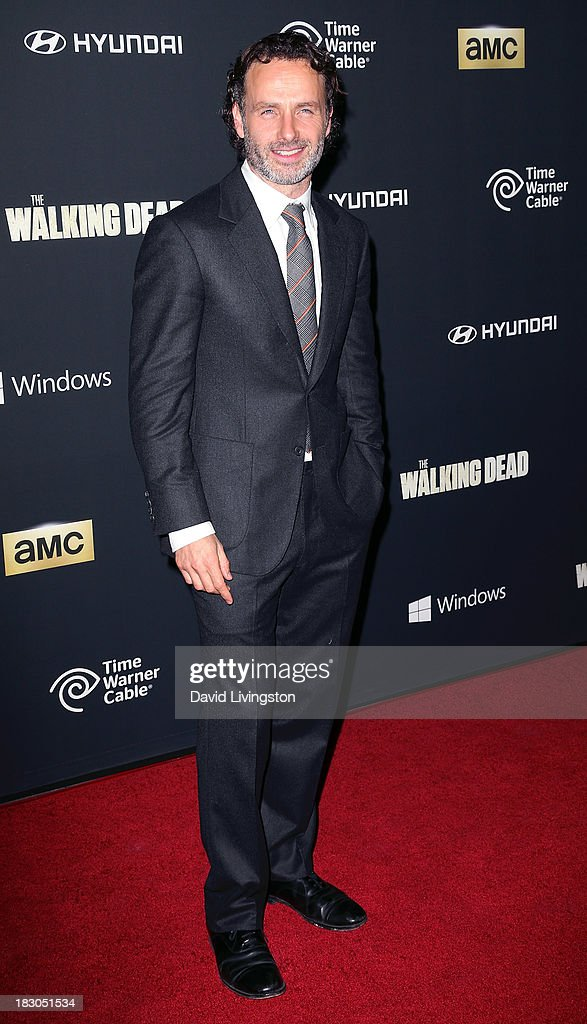 Actor <a gi-track='captionPersonalityLinkClicked' href=/galleries/search?phrase=Andrew+Lincoln&family=editorial&specificpeople=216410 ng-click='$event.stopPropagation()'>Andrew Lincoln</a> attends the premiere of AMC's 'The Walking Dead' 4th Season at Universal CityWalk on October 3, 2013 in Universal City, California.