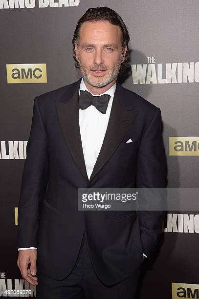 Actor Andrew Lincoln attends the season six premiere of 'The Walking Dead' at Madison Square Garden on October 9 2015 in New York City