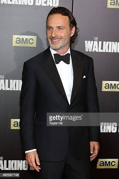 Actor Andrew Lincoln attends 'The Walking Dead' premiere at Madison Square Garden on October 9 2015 in New York City