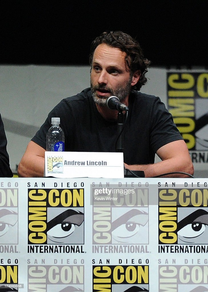 Actor Andrew Lincoln speaks onstage at AMC's 'The Walking Dead' panel during Comic-Con International 2013 at San Diego Convention Center on July 19, 2013 in San Diego, California.