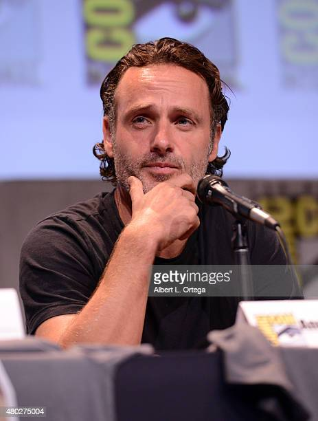 Actor Andrew Lincoln speaks onstage at AMC's 'The Walking Dead' panel during ComicCon International 2015 at the San Diego Convention Center on July...