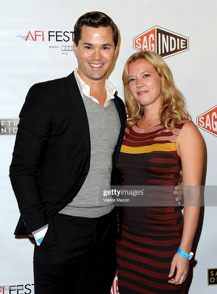 Actor <a gi-track='captionPersonalityLinkClicked' href=/galleries/search?phrase=Andrew+Rannells&family=editorial&specificpeople=2471329 ng-click='$event.stopPropagation()'>Andrew Rannells</a> (L) and guest attend the Tribute to Bruce Dern with SAG-AFTRA, SAGindie And The National SAGindie Committee during AFI FEST presented by Audi at The Roosevelt Hotel on November 11, 2013 in Hollywood, California.