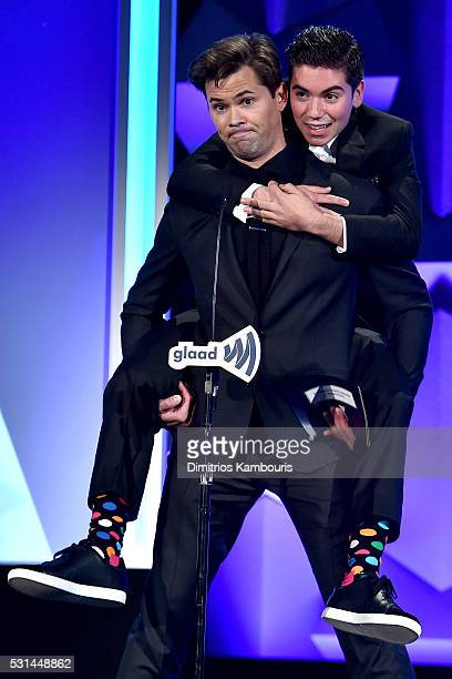 Actor Andrew Rannells and Noah Galvin speak onstage at the 27th Annual GLAAD Media Awards in New York on May 14 2016 in New York City