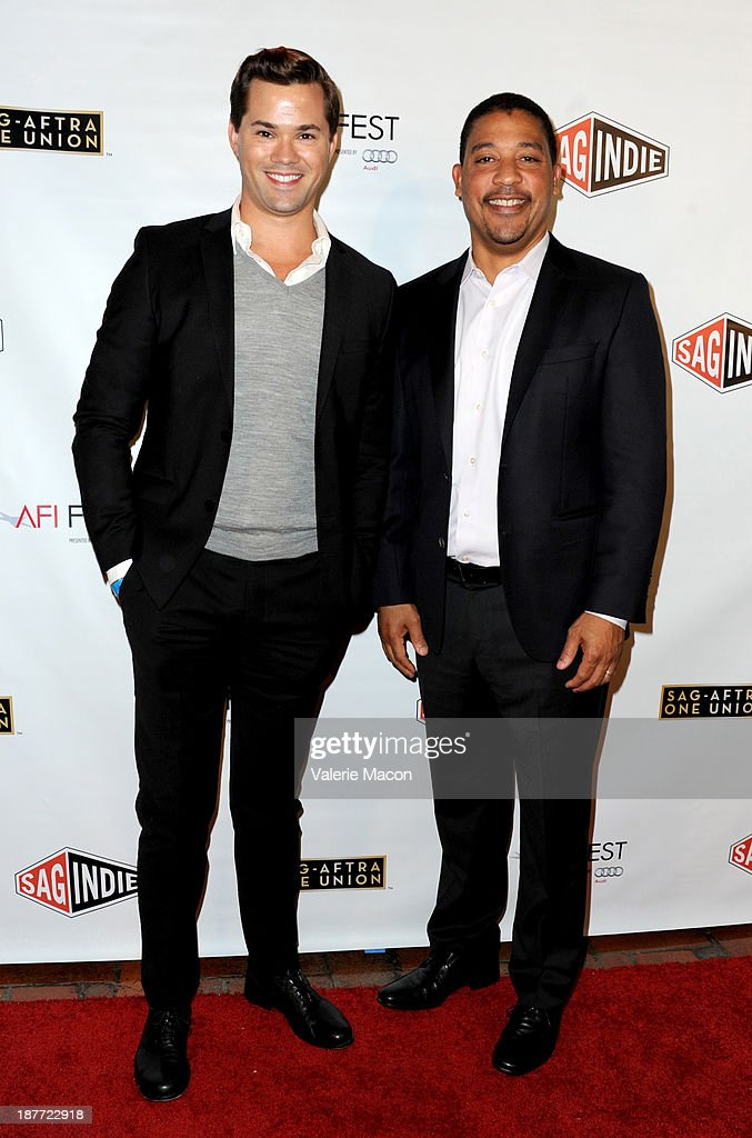 Actor <a gi-track='captionPersonalityLinkClicked' href=/galleries/search?phrase=Andrew+Rannells&family=editorial&specificpeople=2471329 ng-click='$event.stopPropagation()'>Andrew Rannells</a> (L) and SAG-AFTRA national executive director David White attend the Tribute to Bruce Dern with SAG-AFTRA, SAGindie And The National SAGindie Committee during AFI FEST presented by Audi at The Roosevelt Hotel on November 11, 2013 in Hollywood, California.