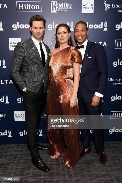 Actor Andrew Rannells honoree Debra Messing and CNN anchor Don Lemon pose backstage at the 28th Annual GLAAD Media Awards at The Hilton Midtown on...