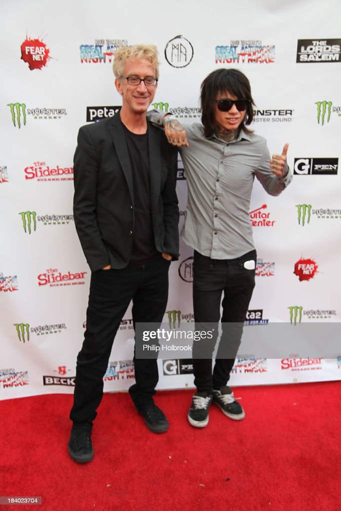 Actor <a gi-track='captionPersonalityLinkClicked' href=/galleries/search?phrase=Andy+Dick&family=editorial&specificpeople=171170 ng-click='$event.stopPropagation()'>Andy Dick</a> and guest arrive at the VIP opening night party at Rob Zombie's Great American Nightmare held at the Fairplex on October 10, 2013 in Pomona, California