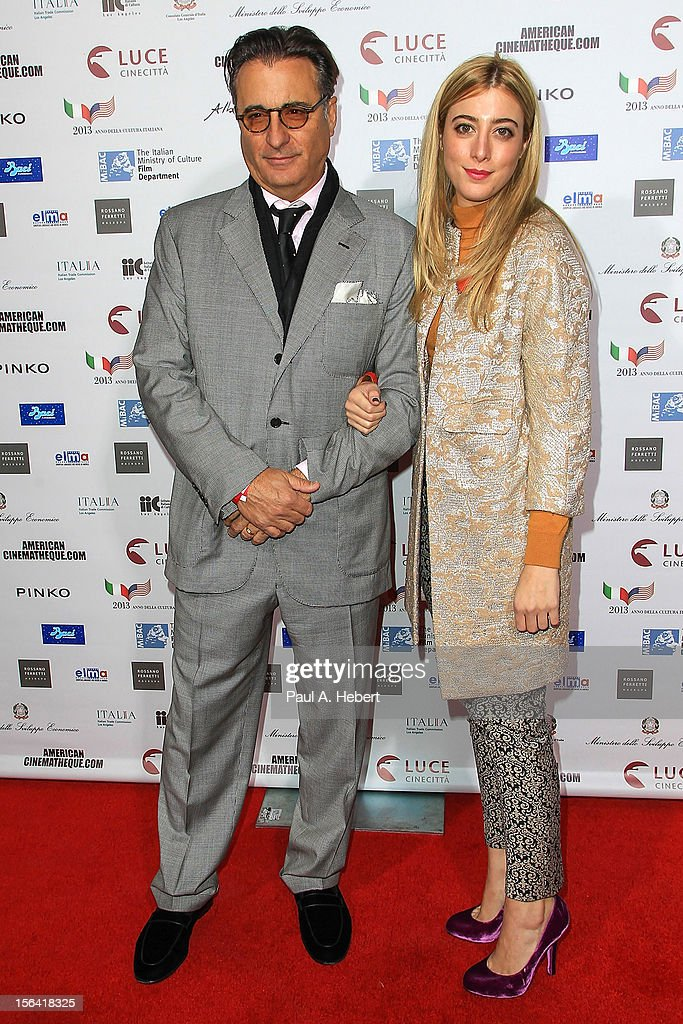 Actor <a gi-track='captionPersonalityLinkClicked' href=/galleries/search?phrase=Andy+Garcia&family=editorial&specificpeople=156410 ng-click='$event.stopPropagation()'>Andy Garcia</a> and daughter Daniella Garcia-Lorido arrive to the 2012 Cinema Italian Style Opening Night Gala Screening Of 'Caesar Must Die' at the Egyptian Theatre on November 14, 2012 in Hollywood, California.