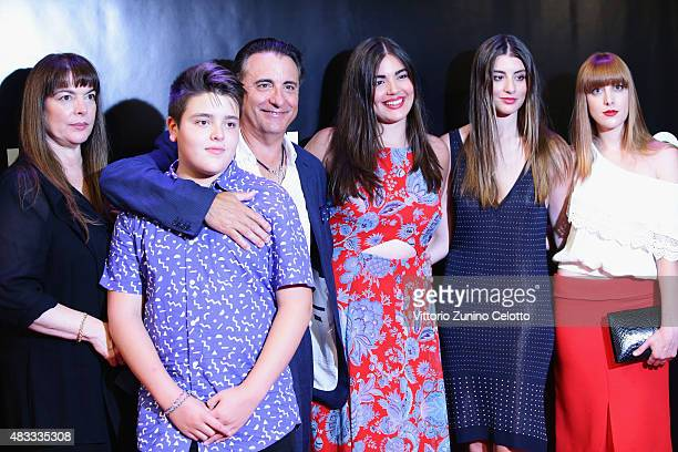 Actor Andy Garcia and his family attend the Leopard Club Award 2015 red carpet on August 7 2015 in Locarno Switzerland