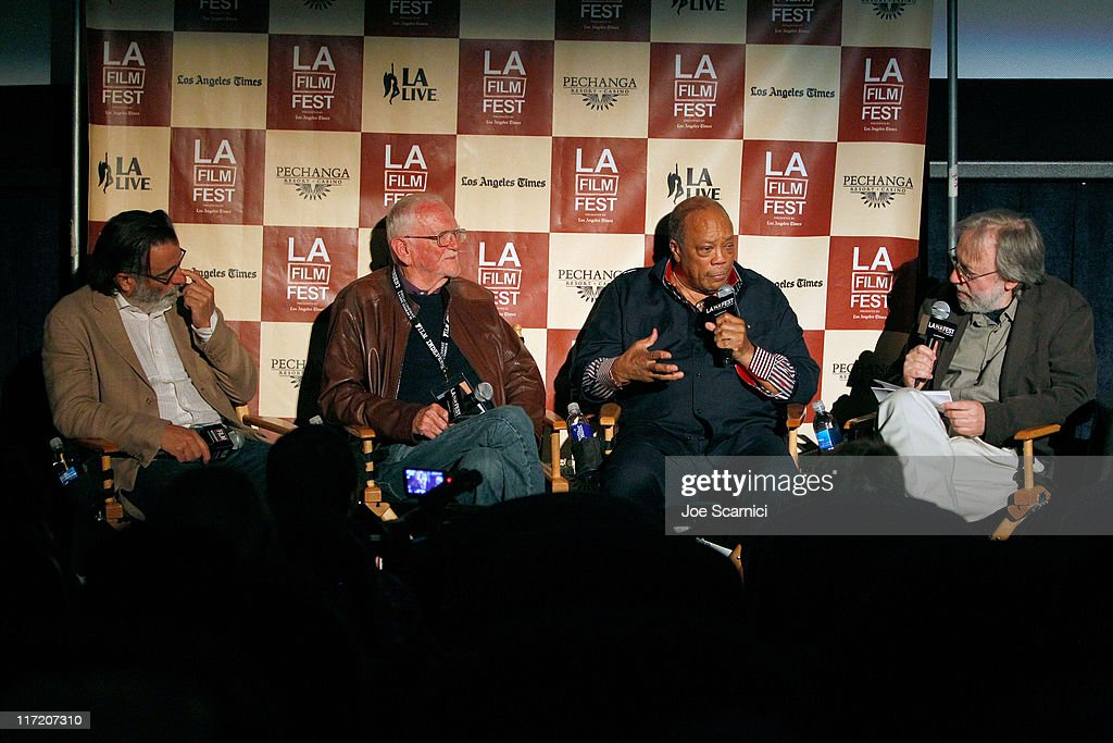 Actor Andy Garcia, screenwriter Frank Pierson, musician Quincy Jones and film critic Kenneth Turan attend A Conversation: Remembering Sidney Lumet during the 2011 Los Angeles Film Festival held at Regal Cinemas L.A. LIVE on June 21, 2011 in Los Angeles, California.