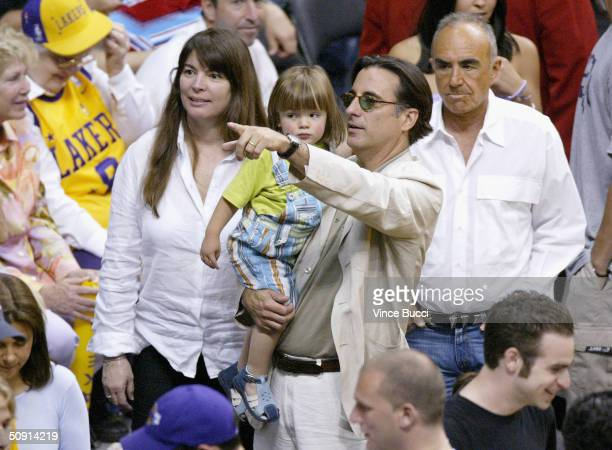 Actor Andy Garcia son Andres and wife Marivi attend Game Six of the NBA Western Conference Finals between the Minnesota Timberwolves and the Los...