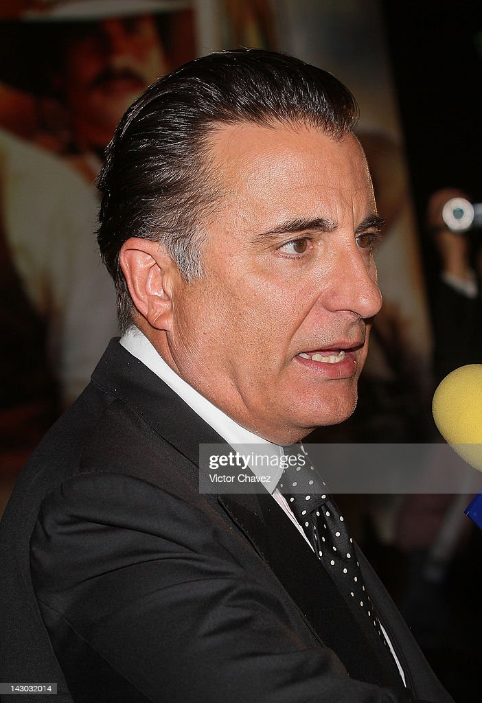 Actor <a gi-track='captionPersonalityLinkClicked' href=/galleries/search?phrase=Andy+Garcia&family=editorial&specificpeople=156410 ng-click='$event.stopPropagation()'>Andy Garcia</a> speaks with the press during the 'For Greater Glory (Cristiada)' Mexico City Premiere at Cinemex Antara Polanco on April 17, 2012 in Mexico City, Mexico.