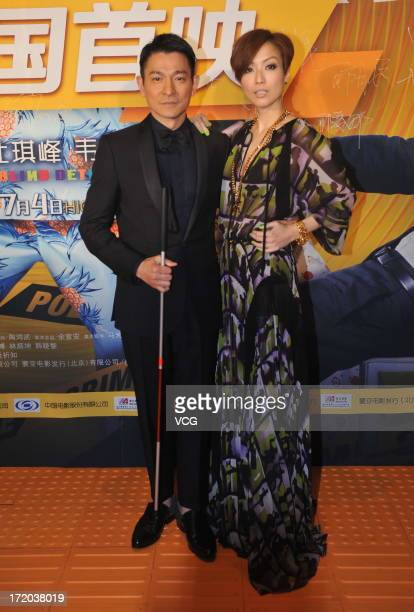 Actor Andy Lau and actress Sammi Cheng attend 'Blind Detective' premiere at Palace Cinema on June 30 2013 in Beijing China