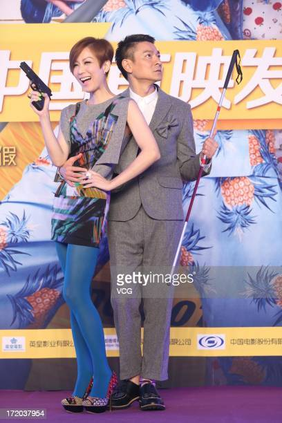 Actor Andy Lau and actress Sammi Cheng attend 'Blind Detective' press conference at Regent Hotel on June 30 2013 in Beijing China